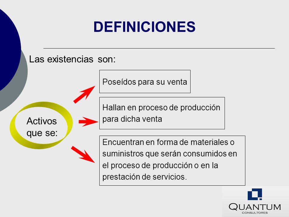 DEFINICIONES Las existencias son: Activos que se: