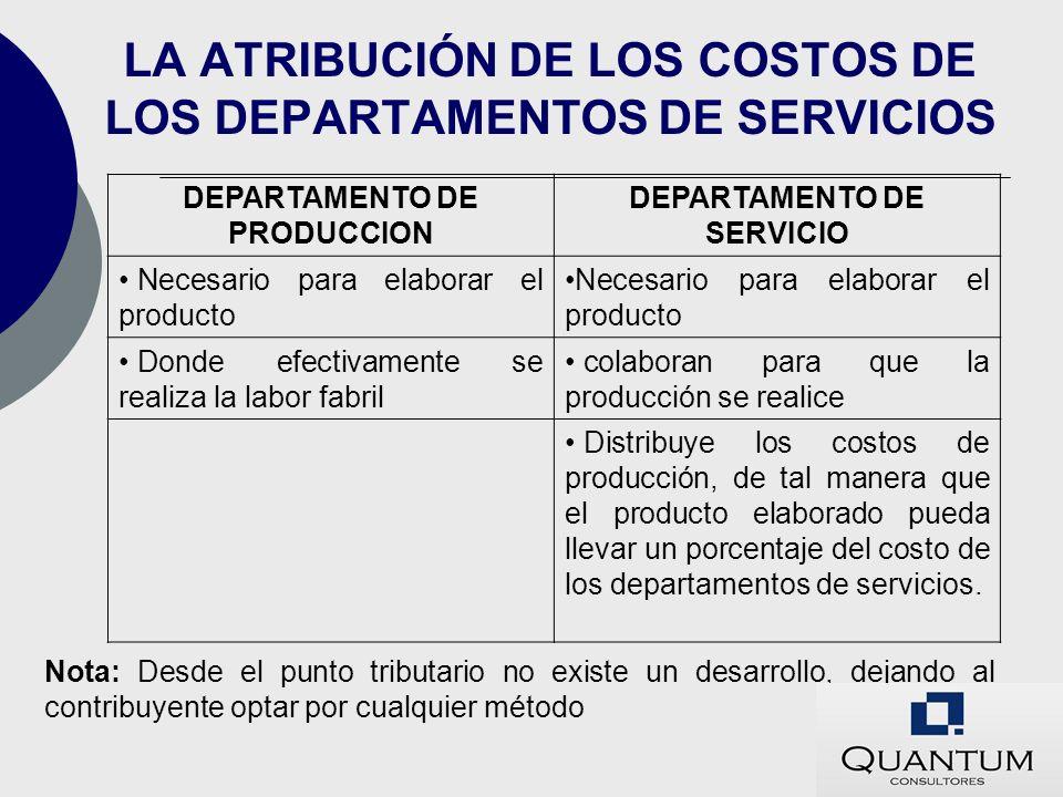 LA ATRIBUCIÓN DE LOS COSTOS DE LOS DEPARTAMENTOS DE SERVICIOS