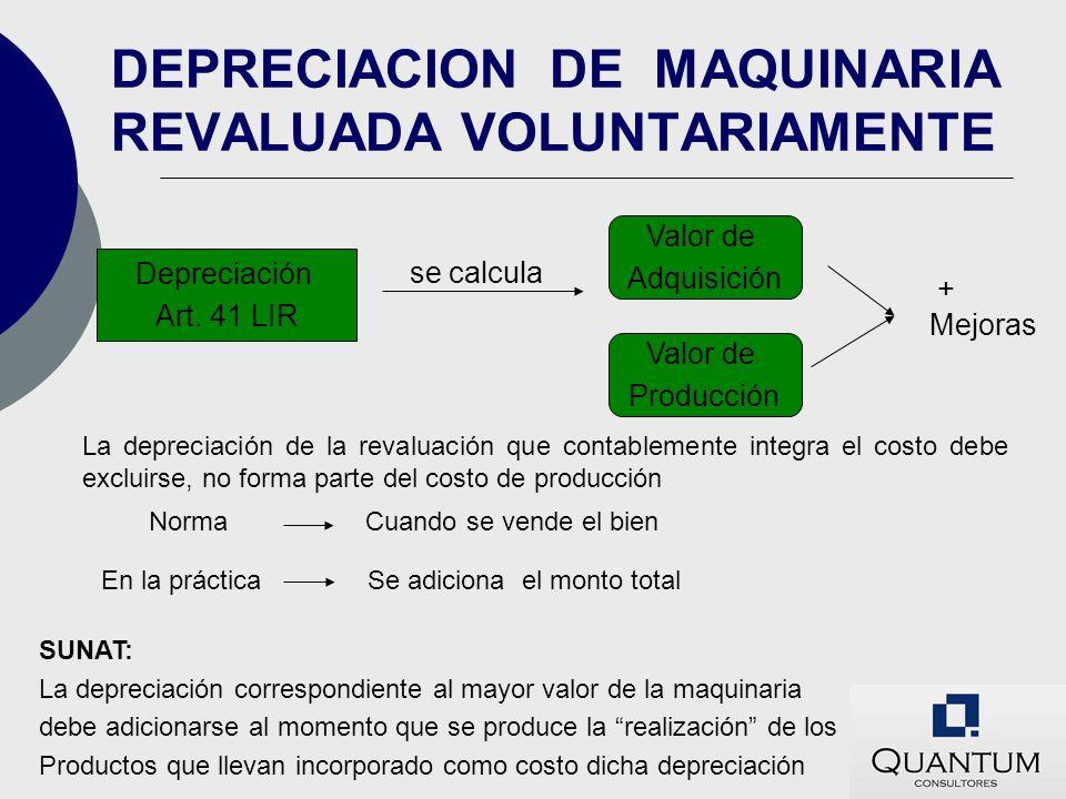 DEPRECIACION DE MAQUINARIA REVALUADA VOLUNTARIAMENTE