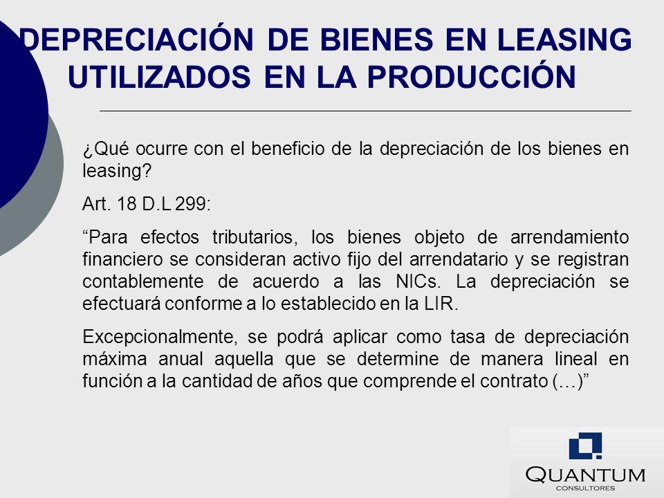 DEPRECIACIÓN DE BIENES EN LEASING UTILIZADOS EN LA PRODUCCIÓN