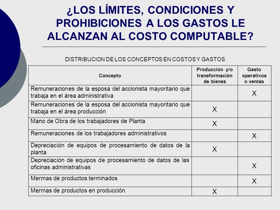 Producción y/o transformación de bienes Gasto operativos o ventas