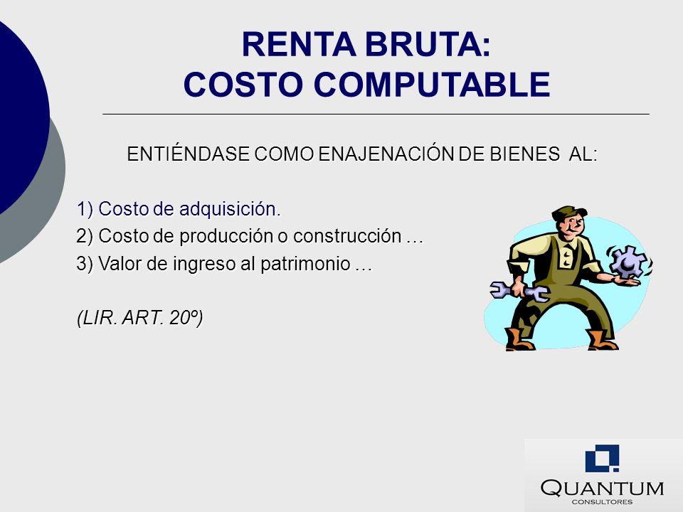 RENTA BRUTA: COSTO COMPUTABLE