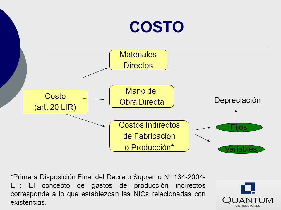 COSTO Materiales Directos Mano de Costo Obra Directa (art. 20 LIR)