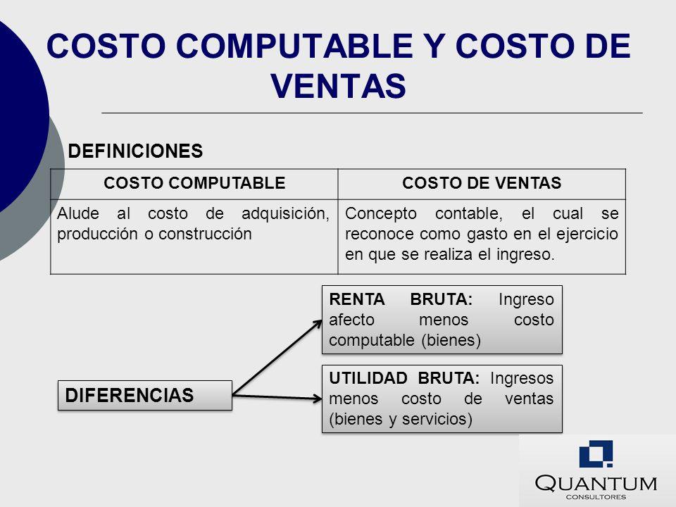 COSTO COMPUTABLE Y COSTO DE VENTAS
