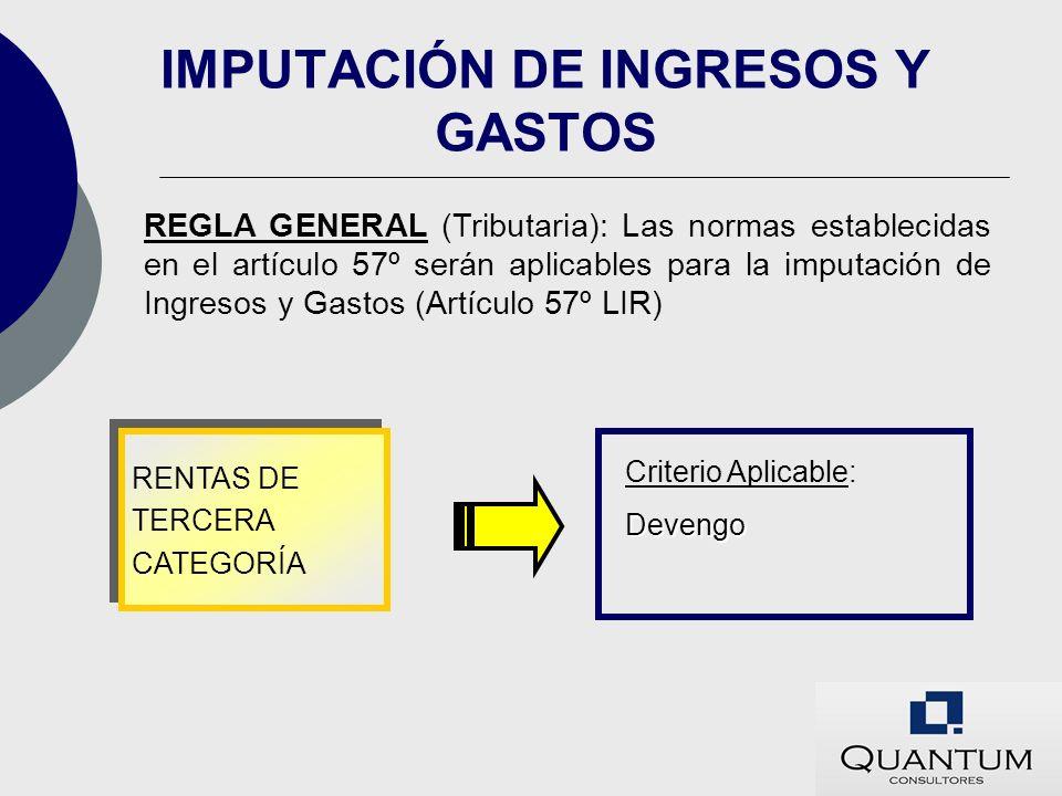 IMPUTACIÓN DE INGRESOS Y GASTOS