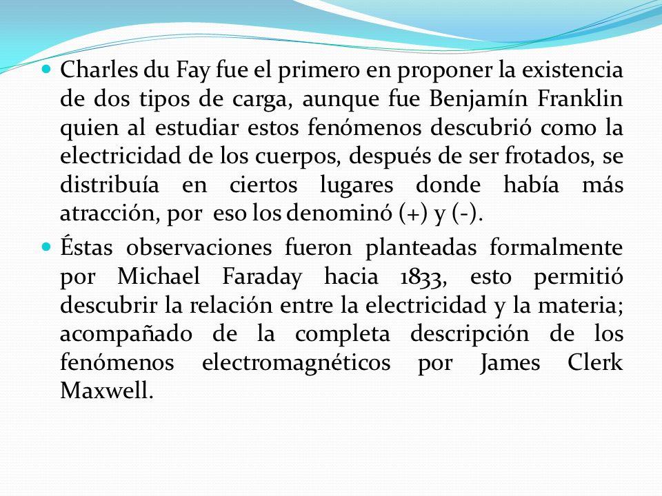 Charles du Fay fue el primero en proponer la existencia de dos tipos de carga, aunque fue Benjamín Franklin quien al estudiar estos fenómenos descubrió como la electricidad de los cuerpos, después de ser frotados, se distribuía en ciertos lugares donde había más atracción, por eso los denominó (+) y (-).