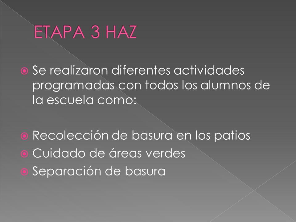 ETAPA 3 HAZ Se realizaron diferentes actividades programadas con todos los alumnos de la escuela como: