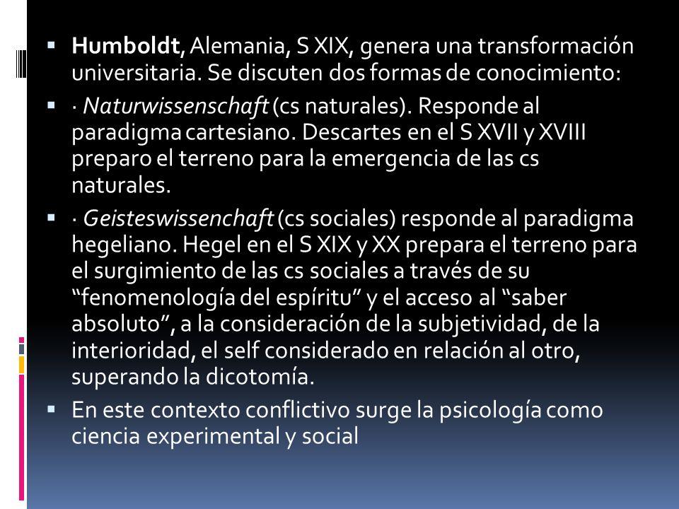 Humboldt, Alemania, S XIX, genera una transformación universitaria