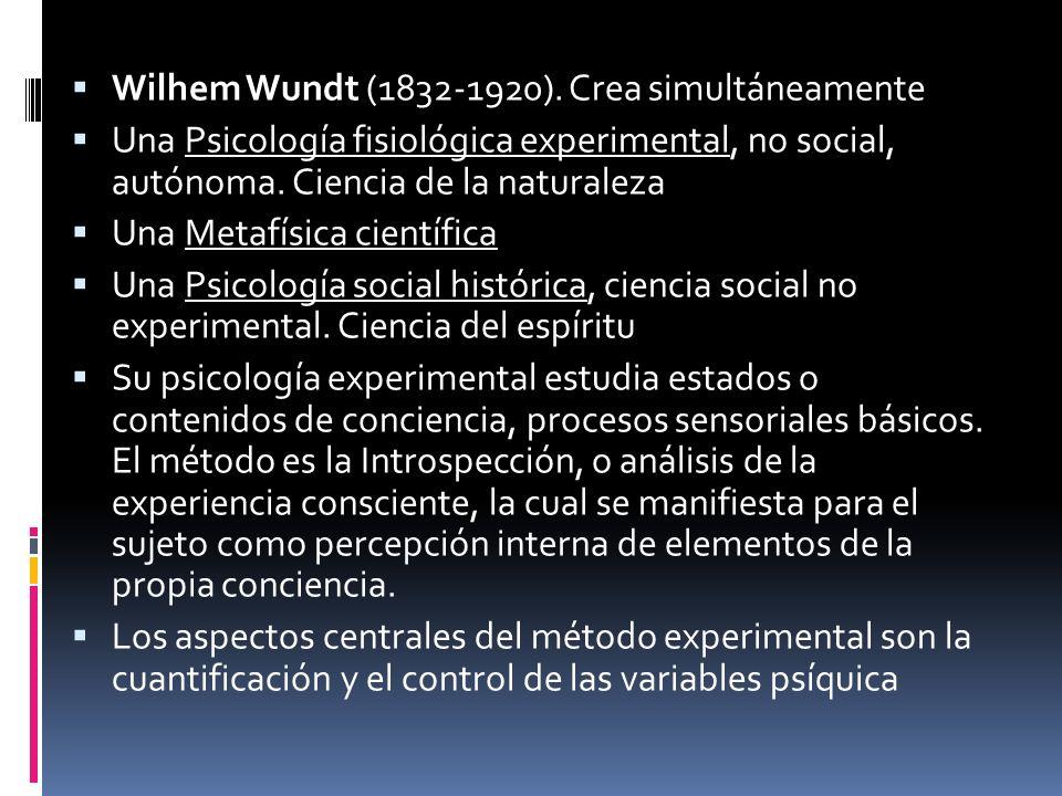 Wilhem Wundt (1832-1920). Crea simultáneamente