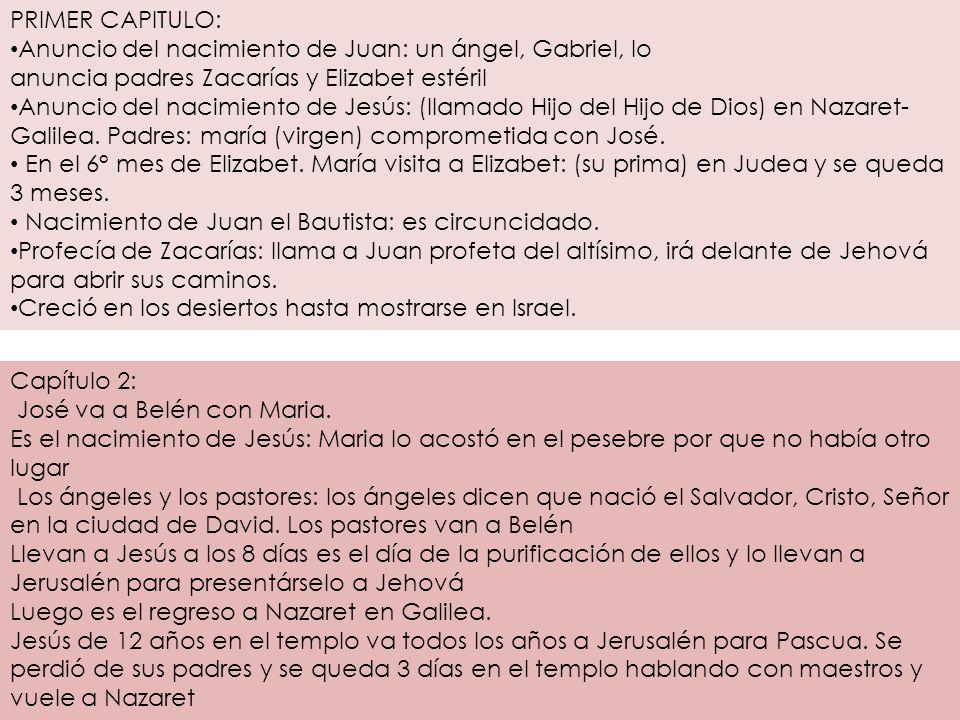 PRIMER CAPITULO: Anuncio del nacimiento de Juan: un ángel, Gabriel, lo anuncia padres Zacarías y Elizabet estéril.