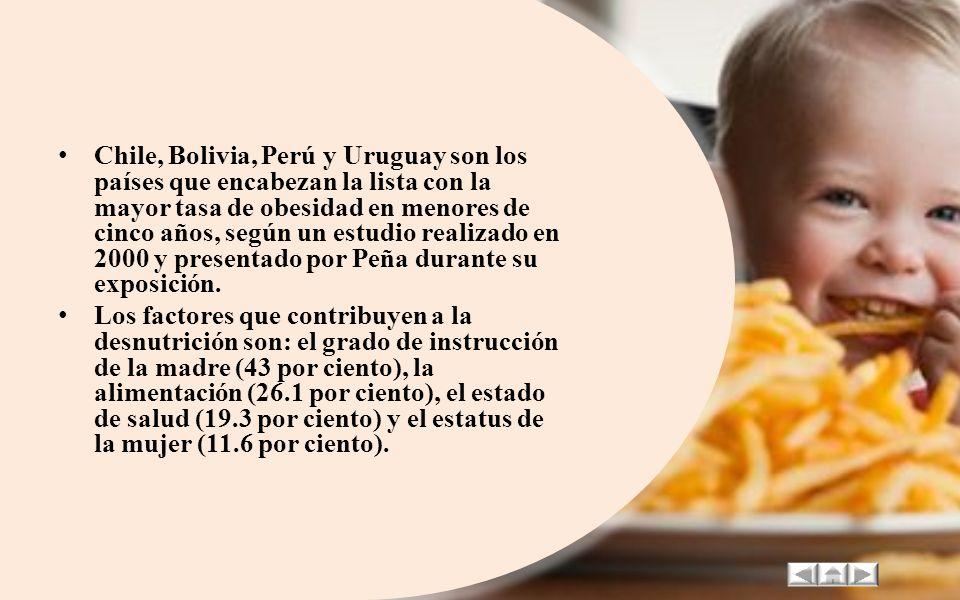 Chile, Bolivia, Perú y Uruguay son los países que encabezan la lista con la mayor tasa de obesidad en menores de cinco años, según un estudio realizado en 2000 y presentado por Peña durante su exposición.