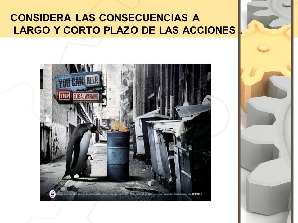 CONSIDERA LAS CONSECUENCIAS A LARGO Y CORTO PLAZO DE LAS ACCIONES .