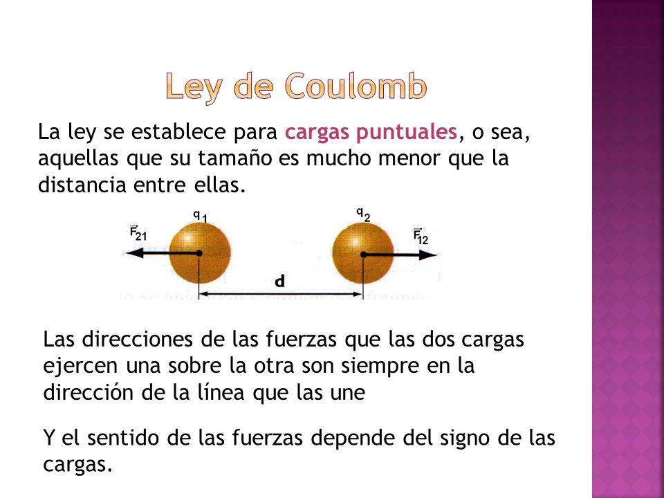 Ley de Coulomb La ley se establece para cargas puntuales, o sea, aquellas que su tamaño es mucho menor que la distancia entre ellas.