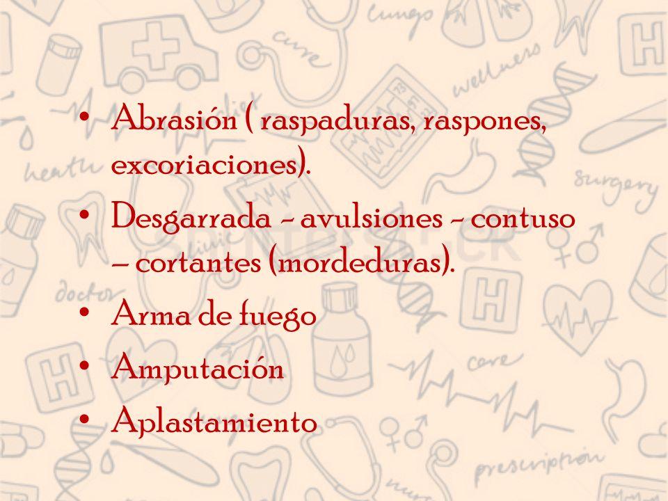 Abrasión ( raspaduras, raspones, excoriaciones).