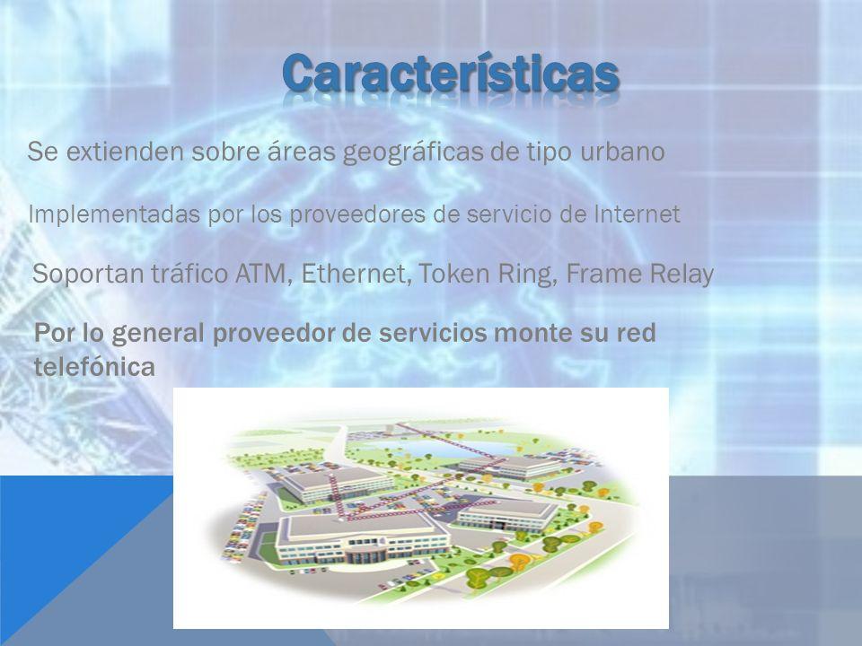 Características Se extienden sobre áreas geográficas de tipo urbano