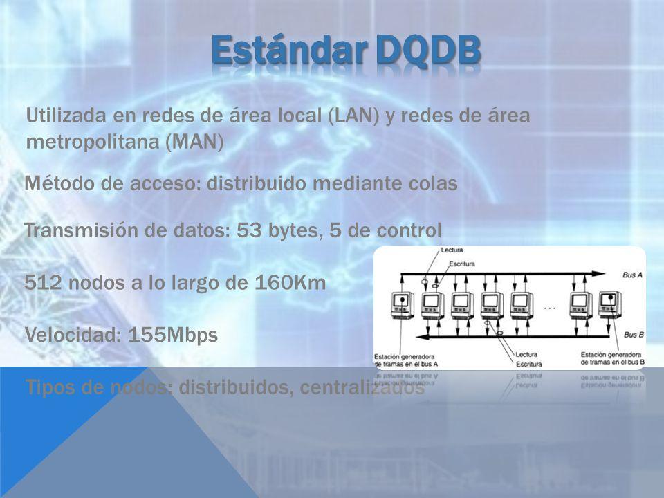 Estándar DQDB Utilizada en redes de área local (LAN) y redes de área metropolitana (MAN) Método de acceso: distribuido mediante colas.
