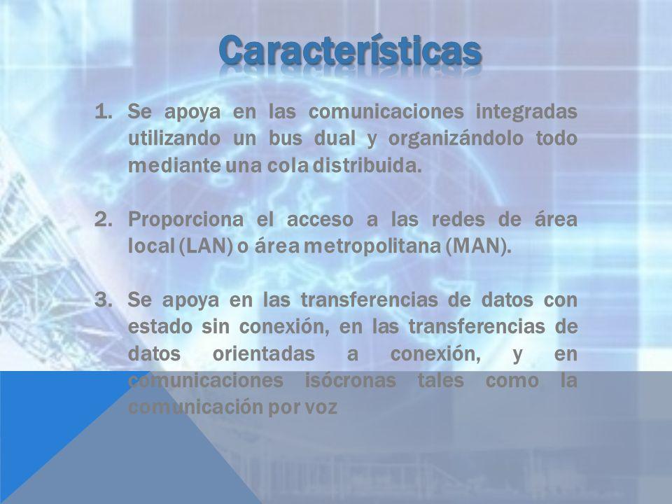 Características Se apoya en las comunicaciones integradas utilizando un bus dual y organizándolo todo mediante una cola distribuida.