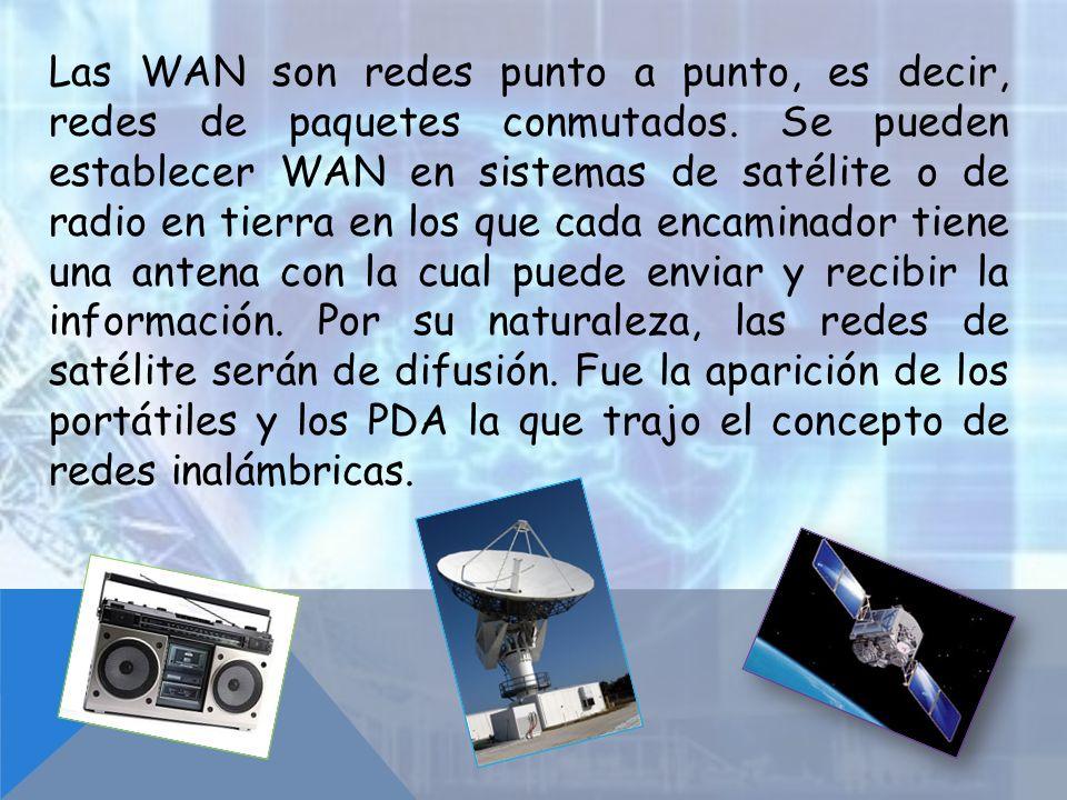 Las WAN son redes punto a punto, es decir, redes de paquetes conmutados.