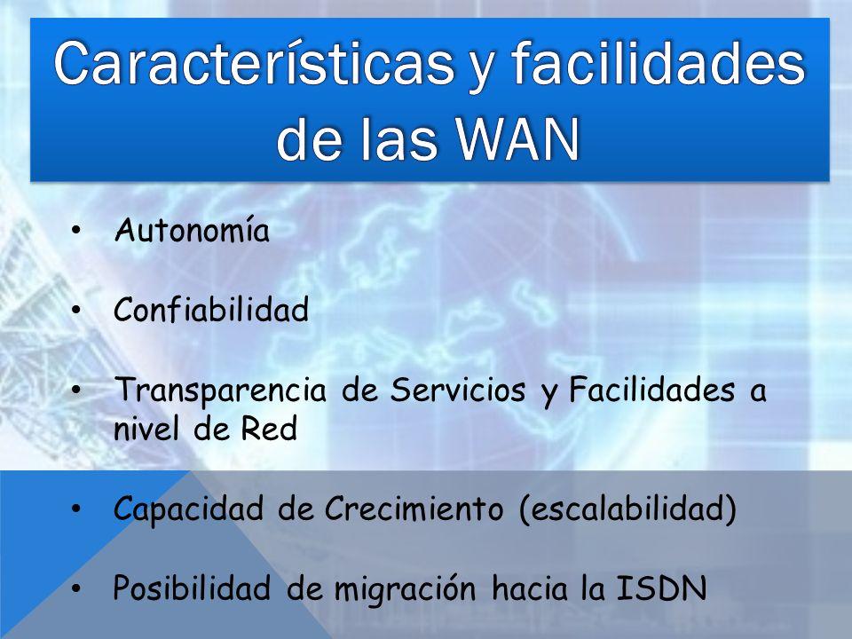 Características y facilidades de las WAN