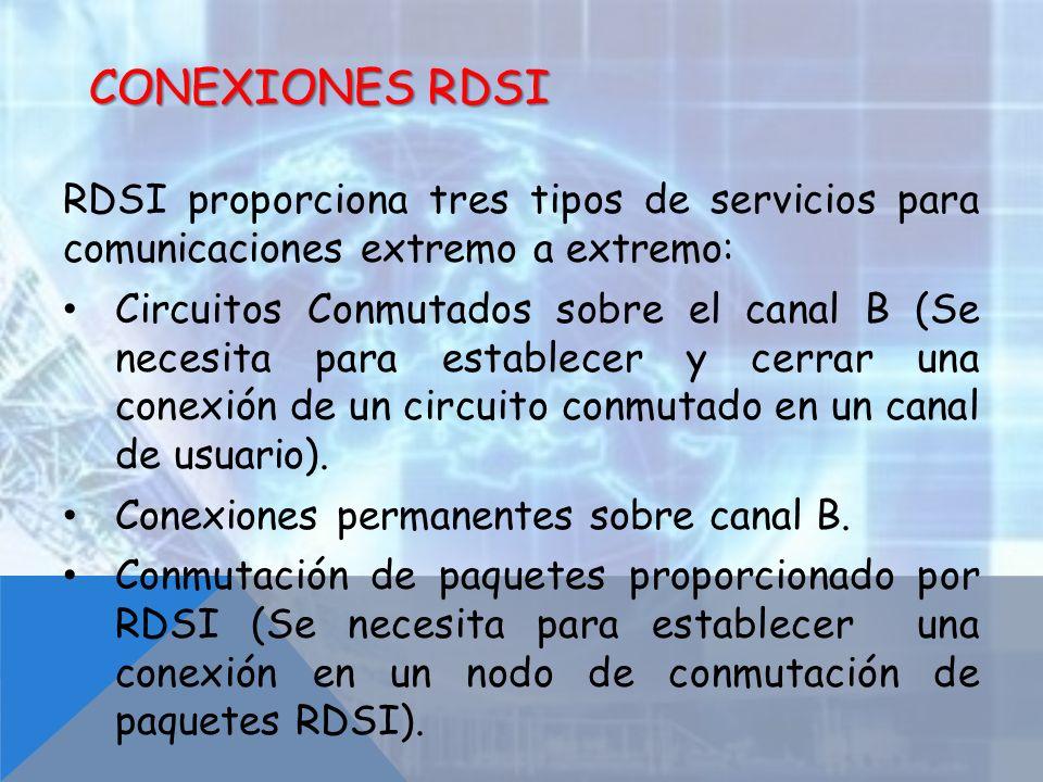 Conexiones RDSI RDSI proporciona tres tipos de servicios para comunicaciones extremo a extremo:
