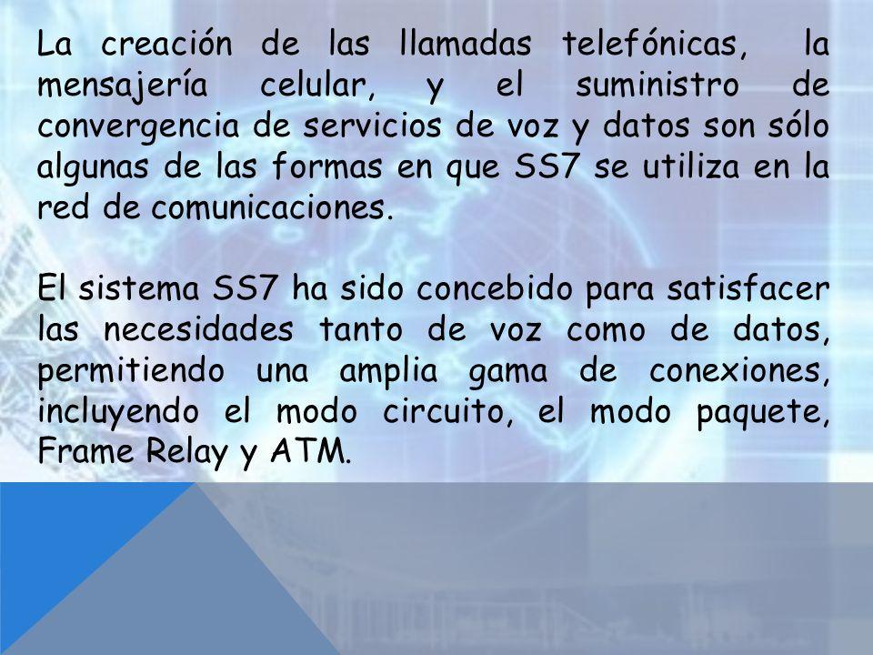 La creación de las llamadas telefónicas, la mensajería celular, y el suministro de convergencia de servicios de voz y datos son sólo algunas de las formas en que SS7 se utiliza en la red de comunicaciones.