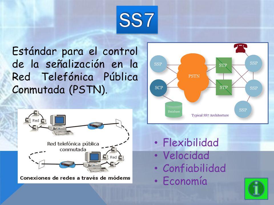 SS7 Estándar para el control de la señalización en la Red Telefónica Pública Conmutada (PSTN). Flexibilidad.