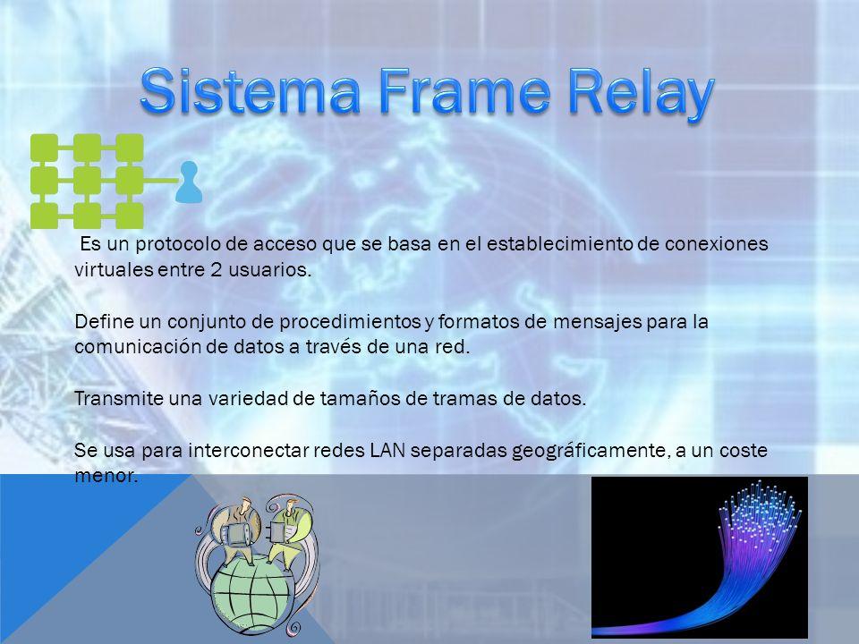 Sistema Frame Relay Es un protocolo de acceso que se basa en el establecimiento de conexiones virtuales entre 2 usuarios.