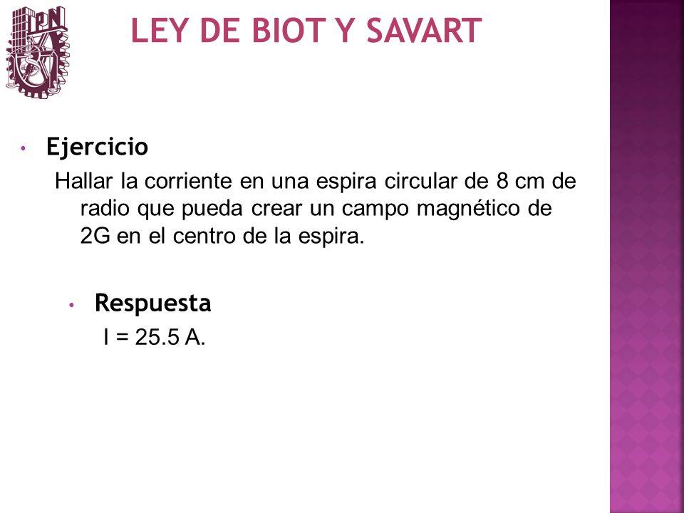 LEY DE BIOT Y SAVART Ejercicio Respuesta