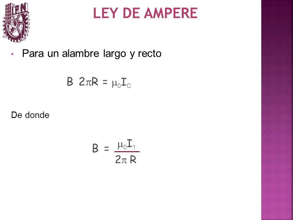 LEY DE AMPERE B 2pR = m0IC B = Para un alambre largo y recto m0I1 2p R