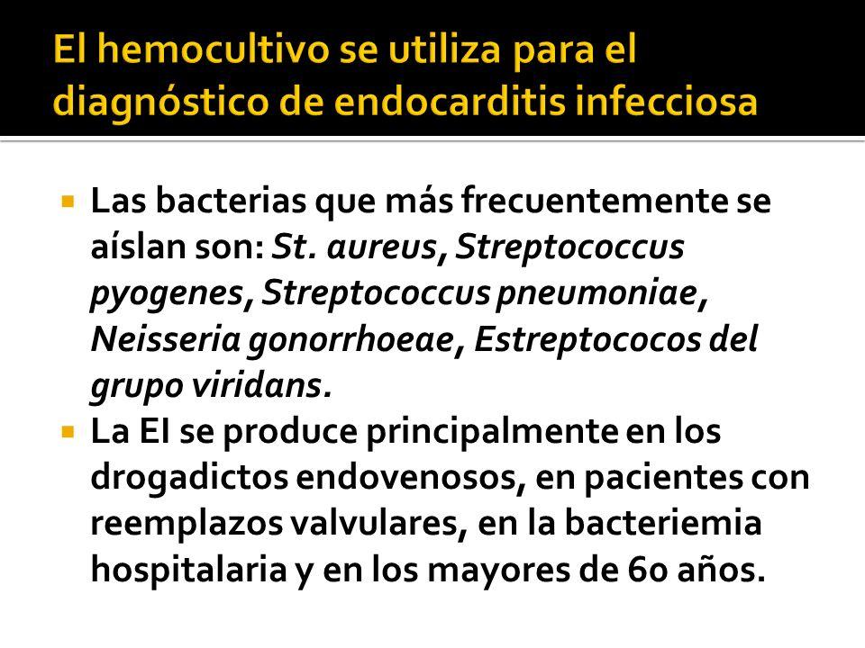 El hemocultivo se utiliza para el diagnóstico de endocarditis infecciosa