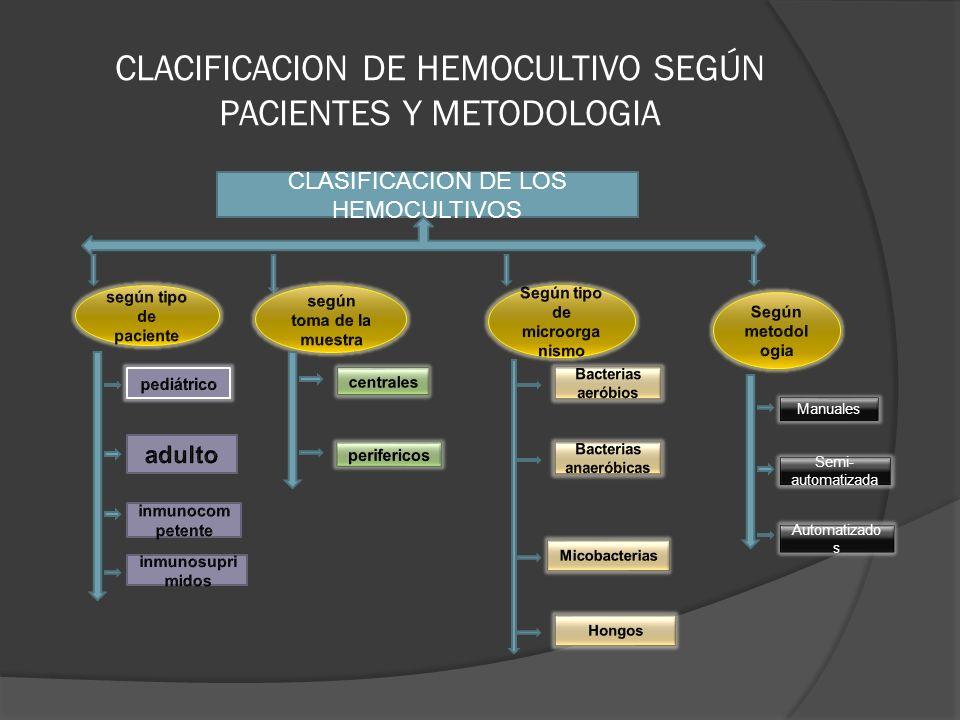 CLACIFICACION DE HEMOCULTIVO SEGÚN PACIENTES Y METODOLOGIA