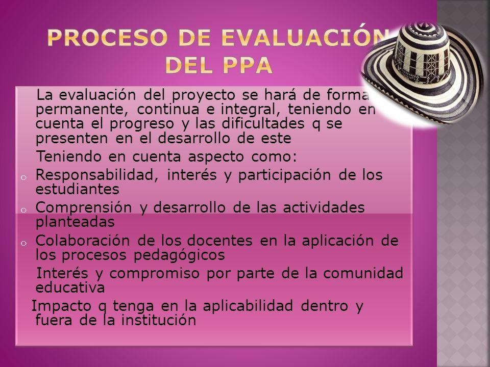 Proceso de evaluación del ppa
