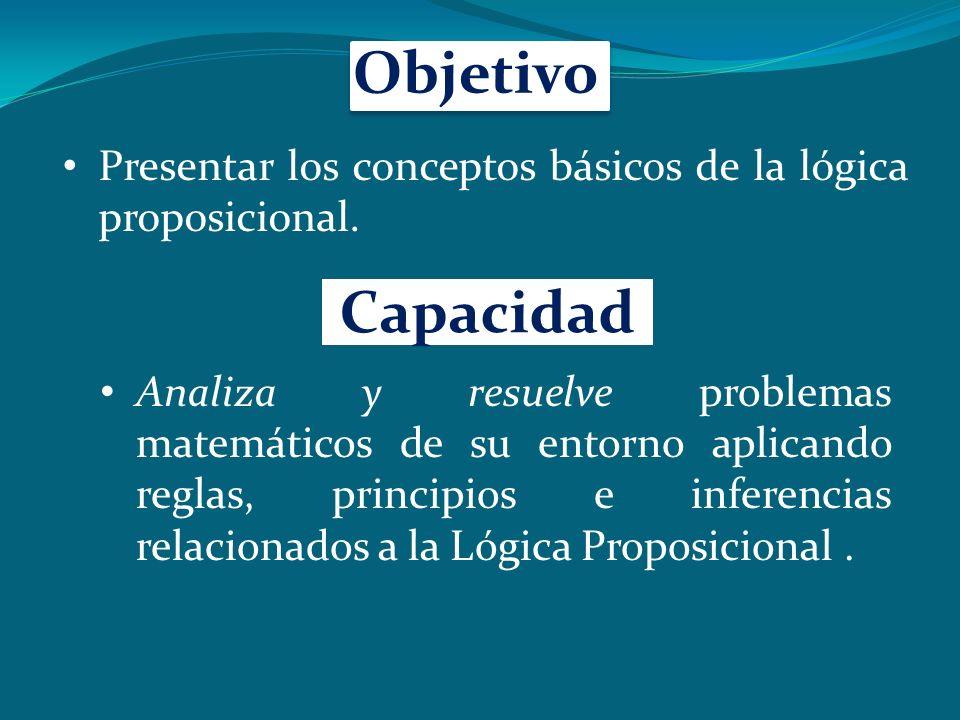 Objetivo Presentar los conceptos básicos de la lógica proposicional. Capacidad.