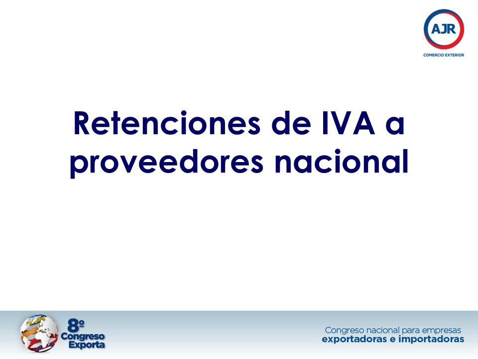 Retenciones de IVA a proveedores nacional