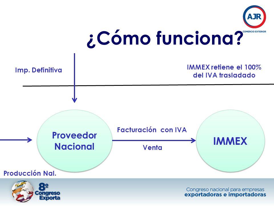 IMMEX retiene el 100% del IVA trasladado