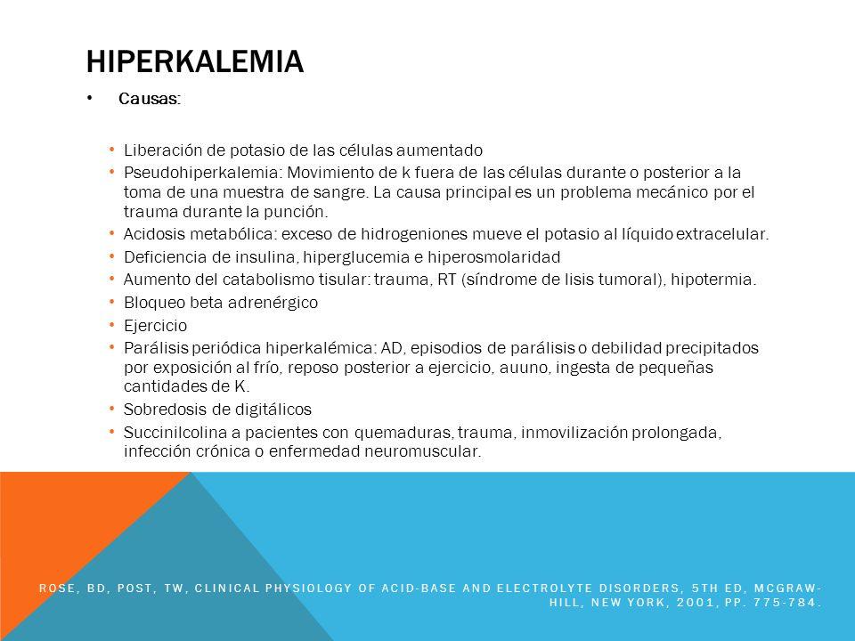 hiperkalemia Causas: Liberación de potasio de las células aumentado