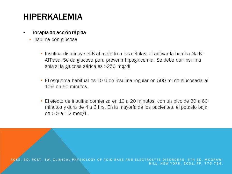 hiperkalemia Terapia de acción rápida Insulina con glucosa