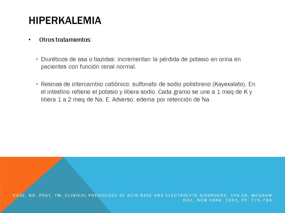 hiperkalemia Otros tratamientos: