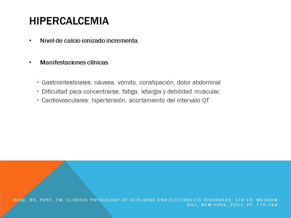 HIPERCALCEMIA Nivel de calcio ionizado incrementa.