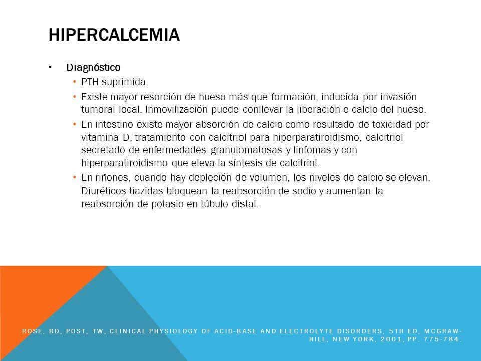 hipercalcemia Diagnóstico PTH suprimida.