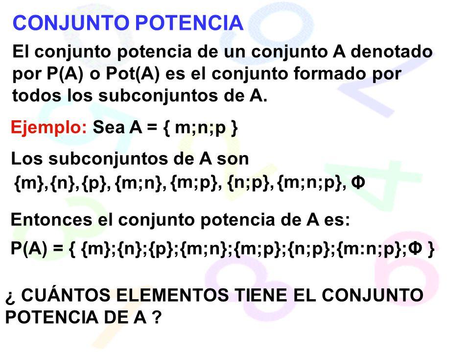 CONJUNTO POTENCIA El conjunto potencia de un conjunto A denotado por P(A) o Pot(A) es el conjunto formado por todos los subconjuntos de A.