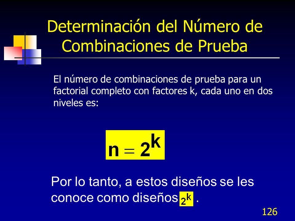 Determinación del Número de Combinaciones de Prueba