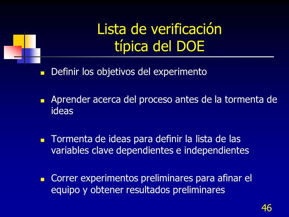 Lista de verificación típica del DOE