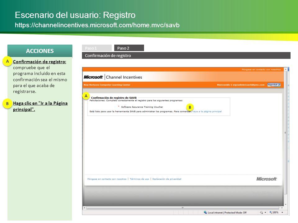 Escenario del usuario: Registro