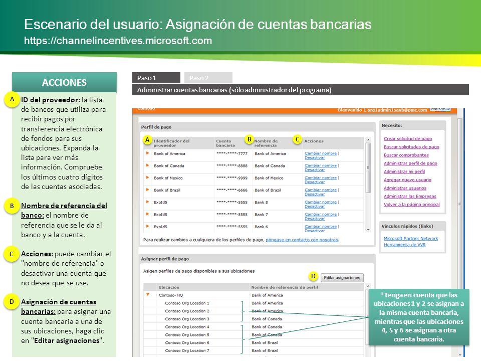 Escenario del usuario: Asignación de cuentas bancarias