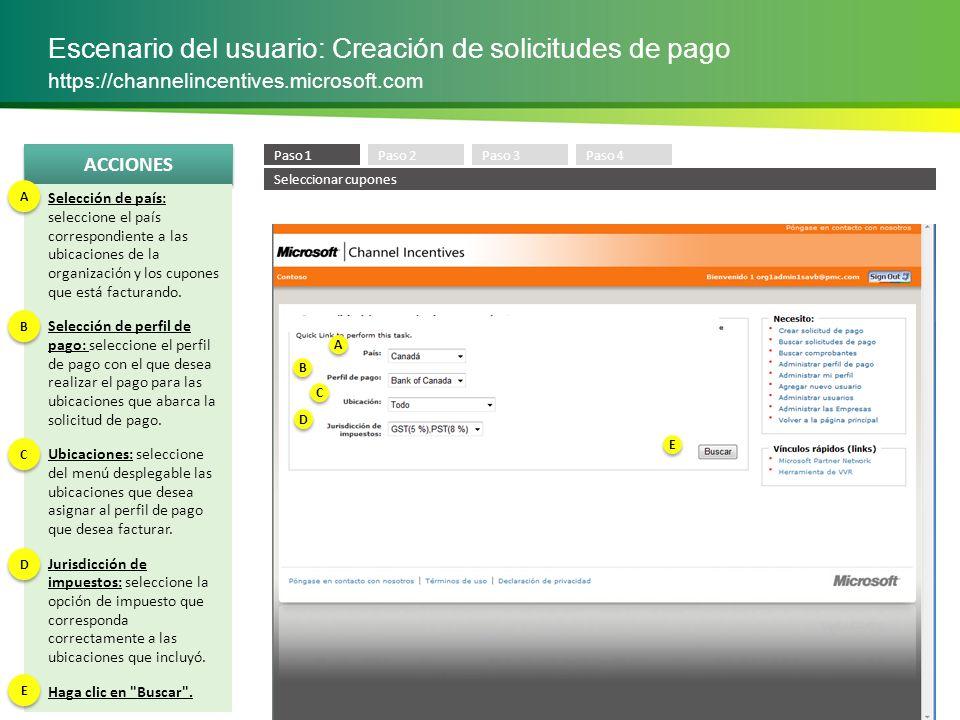 Escenario del usuario: Creación de solicitudes de pago