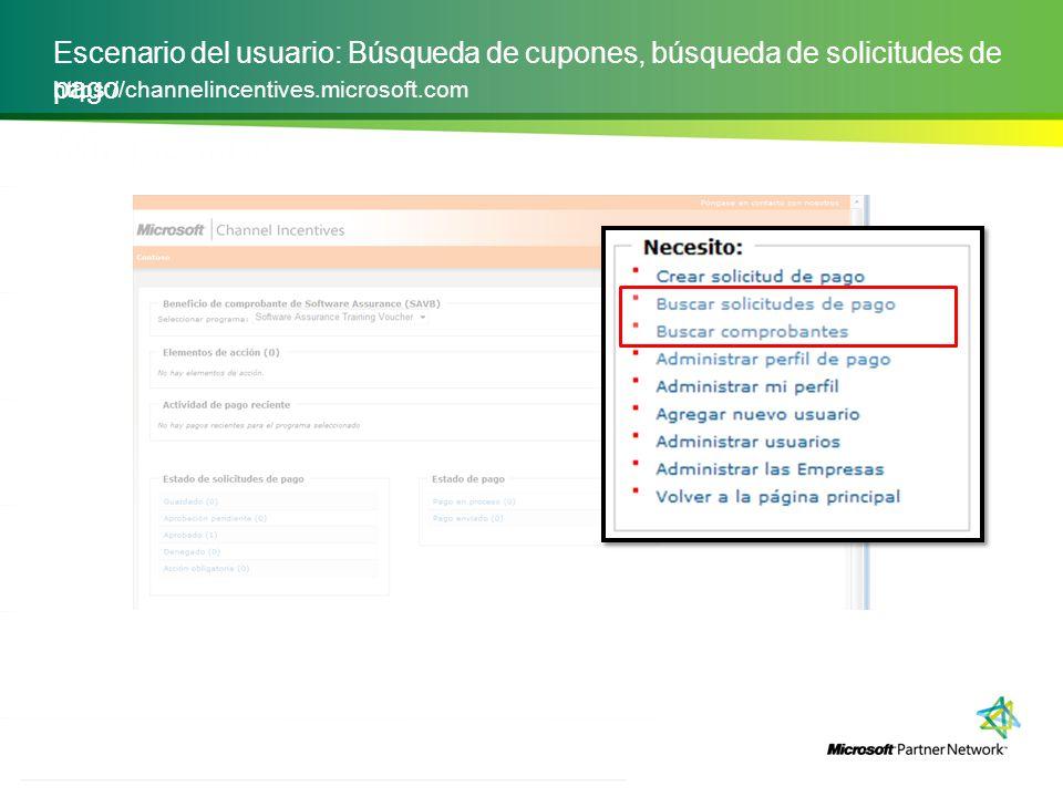 Escenario del usuario: Búsqueda de cupones, búsqueda de solicitudes de pago