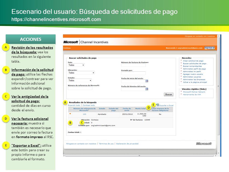 Escenario del usuario: Búsqueda de solicitudes de pago