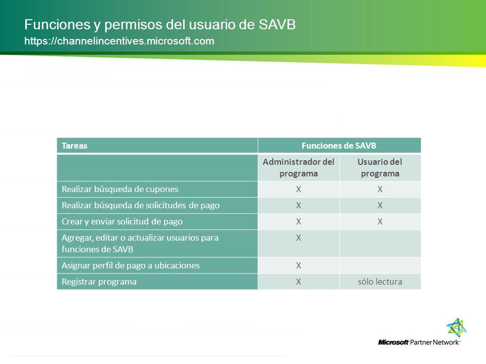 Funciones y permisos del usuario de SAVB