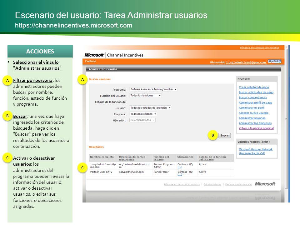 Escenario del usuario: Tarea Administrar usuarios